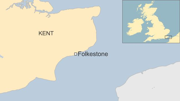 Map showing Folkestone