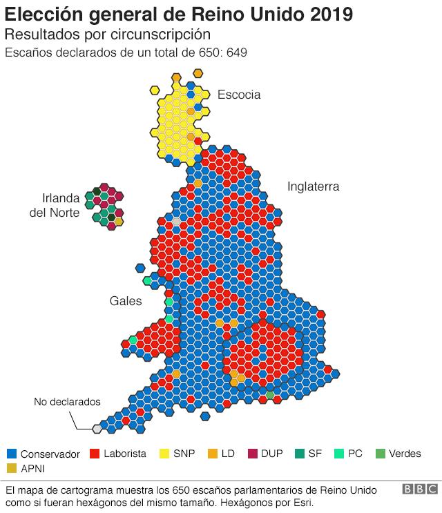 Mapa de Reino Unido con los resultados de las elecciones 2019