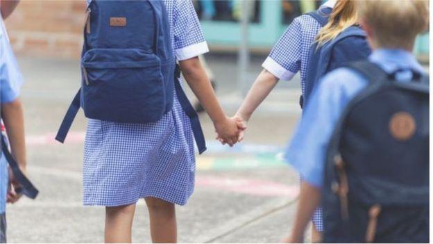 School children in the playground