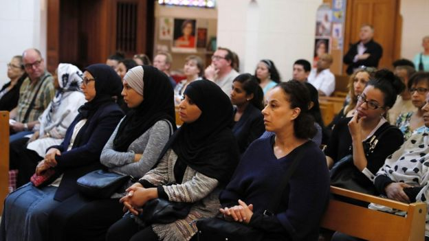 French Muslims attend mass on Sunday in tribute to murdered French priest Jacques Hamel