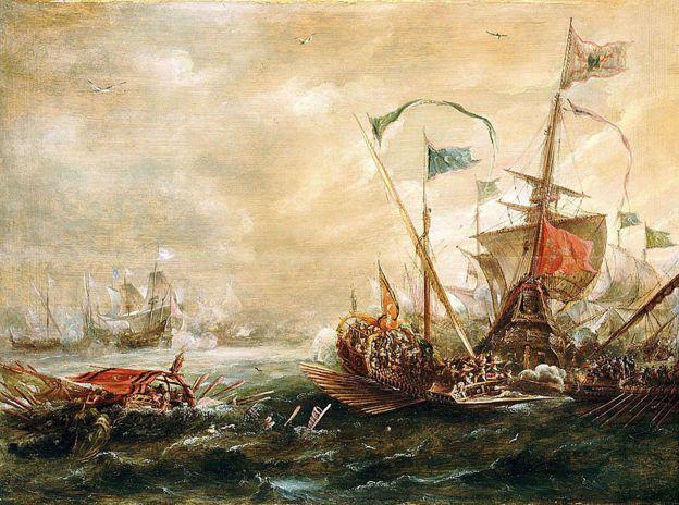 Españoles enfrentados con piratas de Berbería, primera mitad del siglo XVII en esta obra de Andries van Eertvelt (1590-1652).