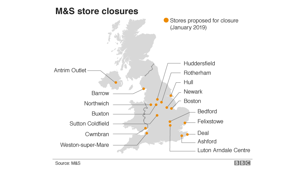 The M&S stores closing their doors for the final time - BBC News