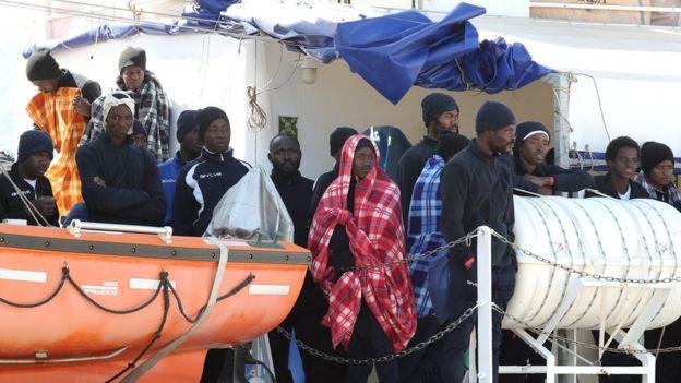 Bir gemide göçmenler