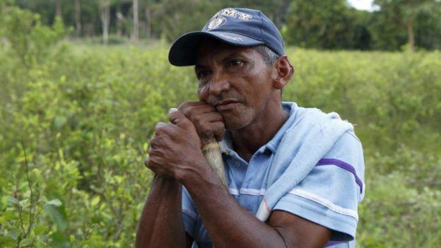 Campesino rodeado de coca (Foto: Natalio Cosoy/ BBC Mundo)
