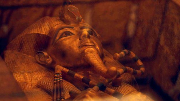 Sarcófago do Rei Tutancâmon, em sua tumba recém-restaurada no Vale dos Reis, Egito (31 de janeiro de 2019)
