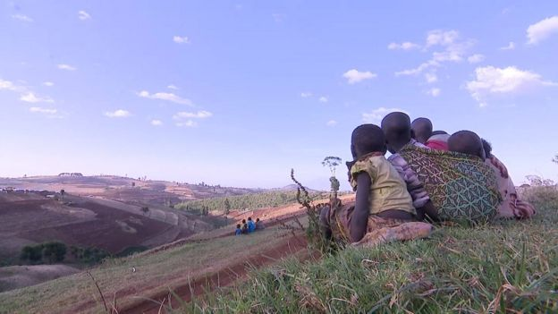 Children on a hill in Sebei, Uganda