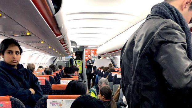 Passengers on a plane