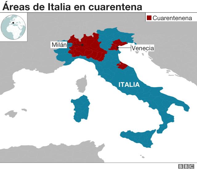 Áreas de Italia en cuarentena