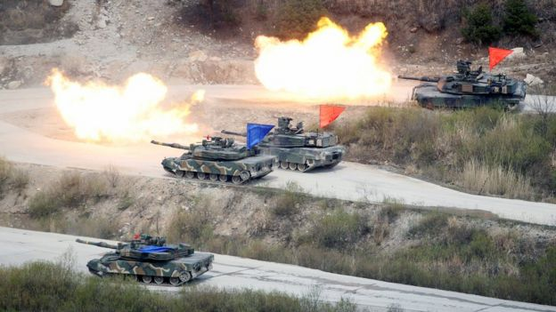 South Korean and US tanks fire live rounds during a joint live-fire military exercise near the demilitarized zone, separating the two Koreas in Pocheon, South Korea. April 21, 2017