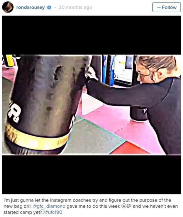 Captura de pantalla de la cuenta de Instagram de Ronda Rousey