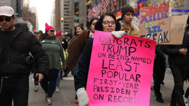 Manifestación contra Donald Trump en Nueva York.