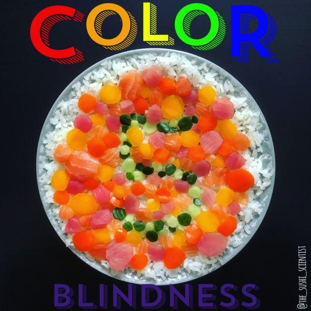 Ilustración para explicar el daltonismo hecha con sushi