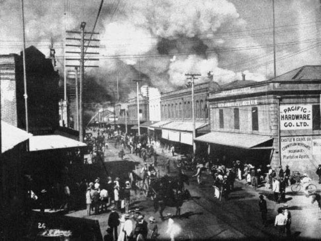 Incendio del barrio chino en Honolulu, 1900