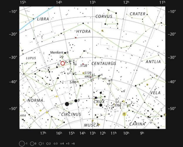Mapa mostra a localização da estrela PDS 70 e do novo planeta na constelação de Centauro