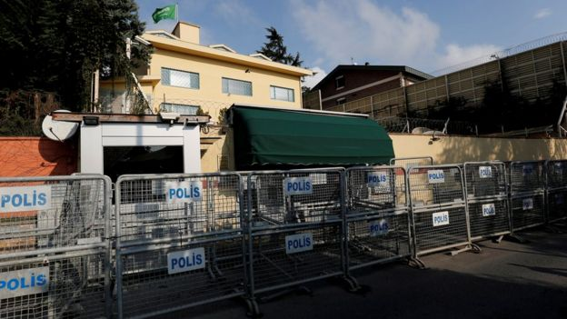 File photo showing security barriers outside the Saudi consulate in Istanbul, Turkey (12 October 2018)