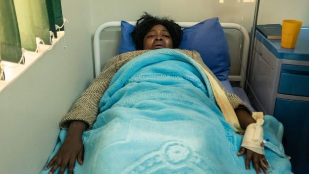 Cecilia Chimbiri in a hospital bed