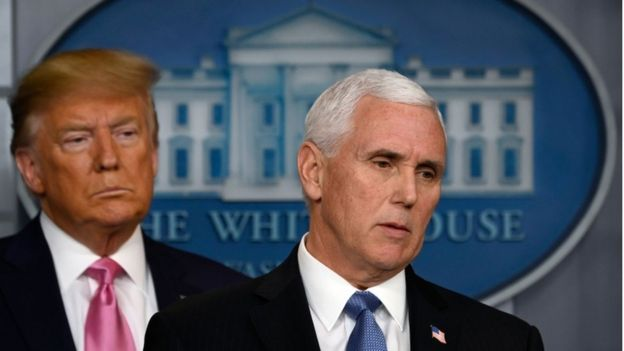President Donald Trump and VIce-President Mike Pence at the White House, 26 February 2020