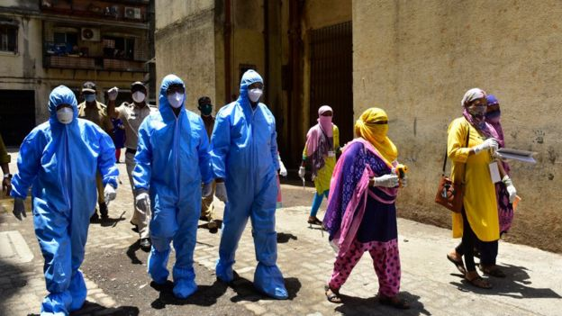 Doctors of Indian Medical Association conducted door to door screening camp, during nationwide lockdown due to COVID 19 pandemic at Dharavi, on April 11, 2020 in Mumbai, India.