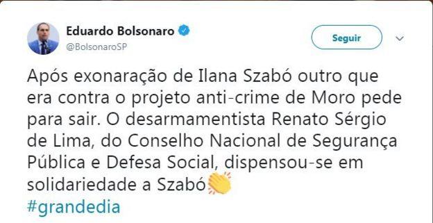 Tuíte Eduardo Bolsonaro