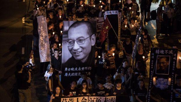 Vigilia en honor al fallecido escritor chino Liu Xiaobo, premio Nobel de la Paz.
