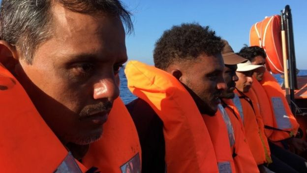 Migrants rescued from a ship and taken to the Ocean Viking