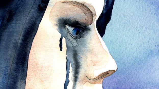 Ilustración de mujer llorando