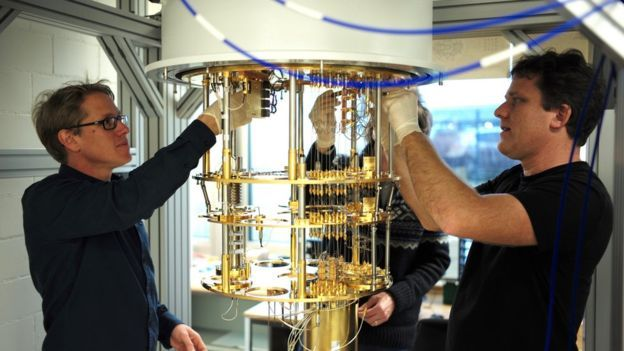 IBM researchers with a quantum computer