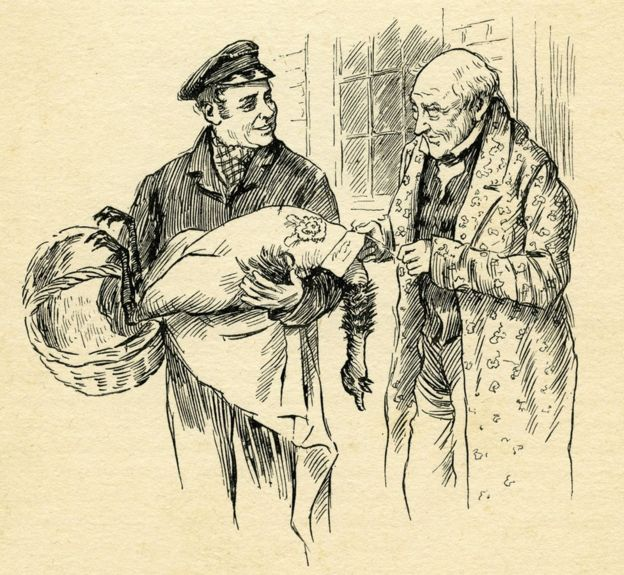 Ebeneezer Scrooge takes delivery of a turkey in an 1850 illustration from A Christmas Carol