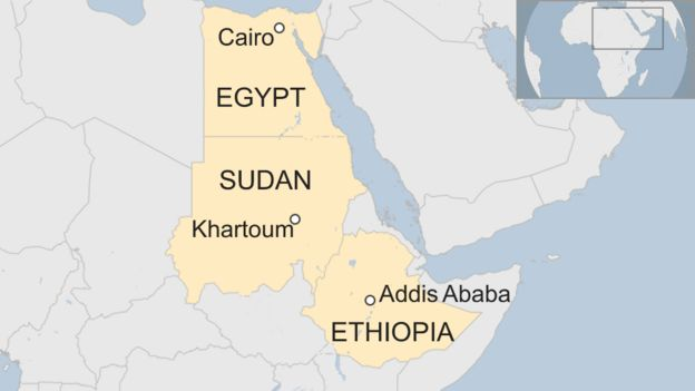 A map showing Egypt, Sudan and Ethiopia and their capitals