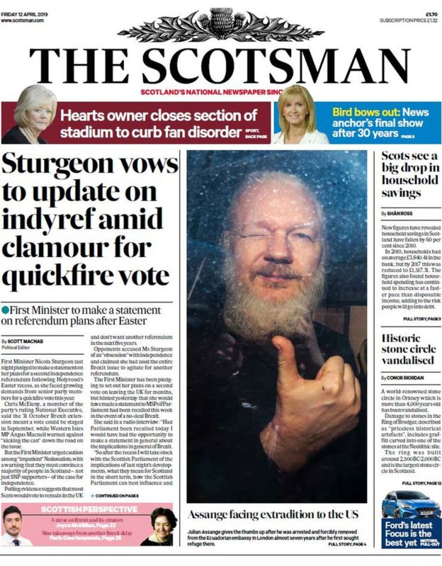 Scotland's papers: Indyref update and Assange facing jail - BBC News
