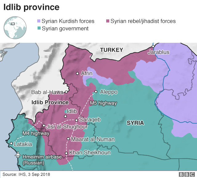 Map showing control of Idlib province, Syria (3 September 2018)