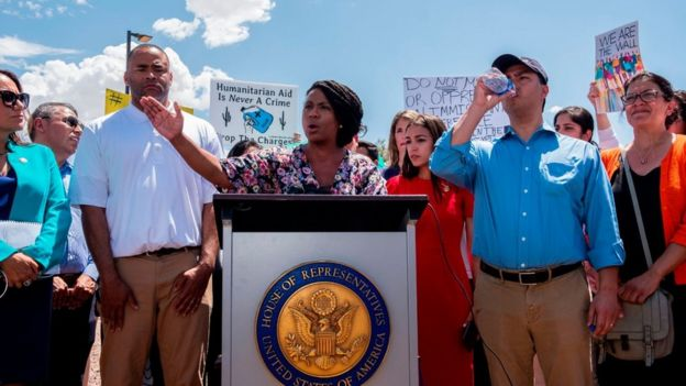 US Representative Ayanna Pressley (D-MA) speaks during a press conference following a tour in Border Patrol facilities and migrant detention centers for 15 members of the Congressional Hispanic Caucus