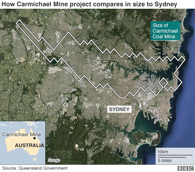 Australia Uk Map Comparison.Australia Approves Controversial Carmichael Coal Mine Bbc News