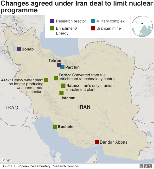 Map showing sites associated with Iran's nuclear programme