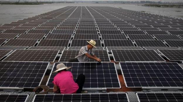 Paneles solares en China.