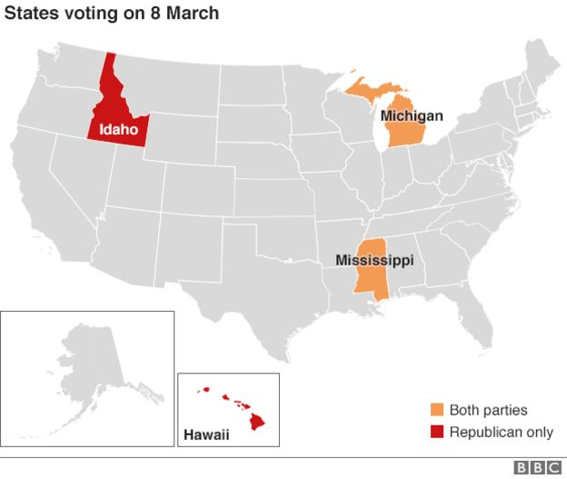 Map Us Primaries Held On 8 March