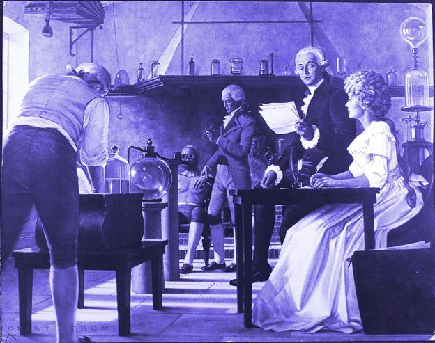 Antoine y Marie Lavoisier en el laboratorio