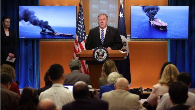 Ông Pompeo phát biểu từ phòng họp của Bộ Ngoại giao Hoa Kỳ hôm 13/06 về vụ tấn công tàu chở dầu