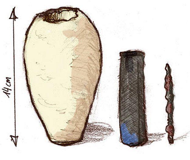 Los tres componentes del misterioso artefacto.