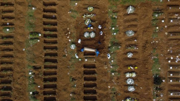 Covas abertas em cemitério no Brasil
