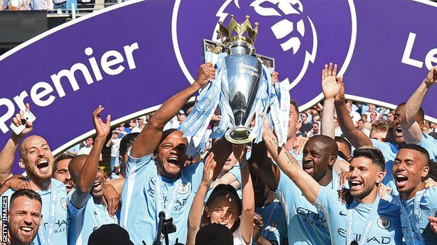 Manchester City celebrate Premier League title