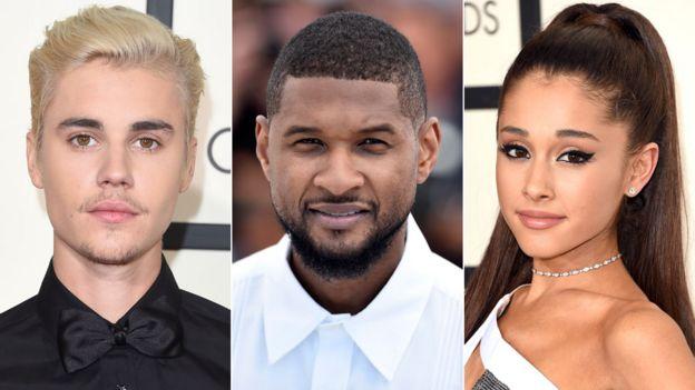 Justin Bieber, Usher y Ariana Grande
