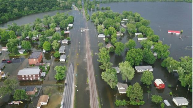 Floodwater from the Mississippi River has overtaken much of the town of Foley, Missouri