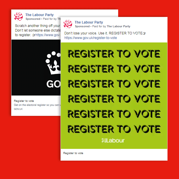Two ads by the Labour Party