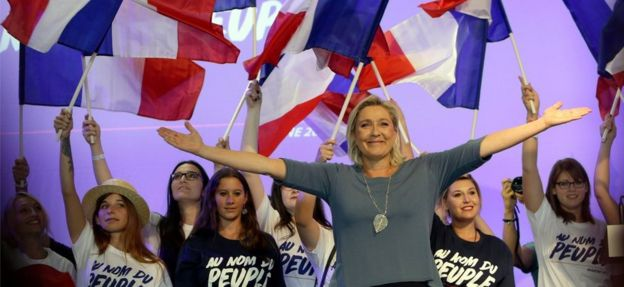 Image result for Marine le Pen and the French youth