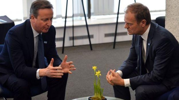 European Council President Donald Tusk (right) wit David Cameron