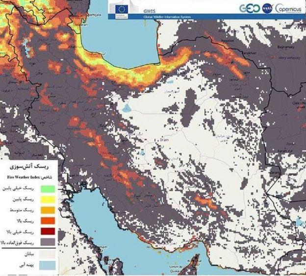 خبرگزاری مهر نقشه سازمان فضایی ایران درباره خطر آتشسوزی در روز سیزدهم خرداد را منتشر کرد