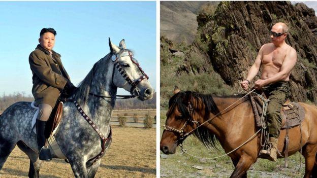 Kim Jong-un y Vladimir Putin a caballo