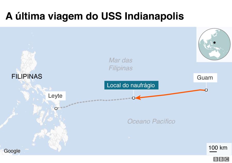 Mapa de trajetória derradeira do USS Indianapolis