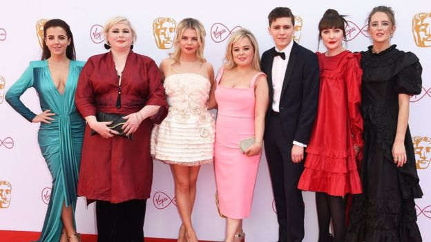 Nicola (middle) with the rest of the Derry Girls cast at the Baftas